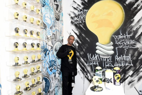 BROOKLYN, NY - MAY 03: Artist Meres One during Moniker International Art Fair Opening. Kaspersky Lab is supporting the Moniker Art Fair's first US edition in New York in May 2018. Kaspersky Lab has also commissioned a permanent mural by D*Face, at The Greenpoint Terminal on May 3, 2018 in Brooklyn, New York. (Photo by Presley Ann/Getty Images for Kaspersky Lab)