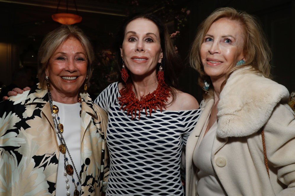 "Adrienne Vittadini, Carolyne Roehm and guest attend the launch of Joseph Cicio's new book ""Friends** Bearing Gifts"" at The Lowell Hotel on May 16, 2018 in New York City. (Photo by JP Yim/Getty Images)"