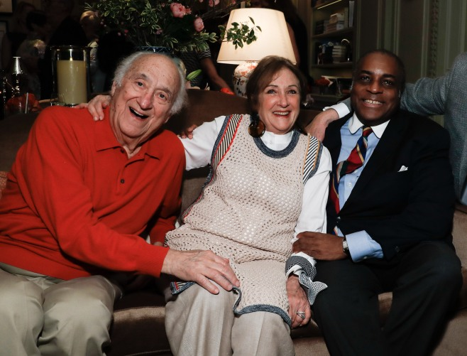 "Jerry Adler, Joan Adler, Jeffrey Banks and Joseph Ciciio attend the launch of Joseph Cicio's new book ""Friends** Bearing Gifts"" at The Lowell Hotel on May 16, 2018 in New York City. (Photo by JP Yim/Getty Images)"