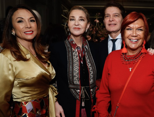 """Guest, Paola Marzotto, Edgar Batista, Carmen D'Alessio and guest attend the launch of Joseph Cicio's new book """"Friends** Bearing Gifts"""" at The Lowell Hotel on May 16, 2018 in New York City. (Photo by JP Yim/Getty Images)"""