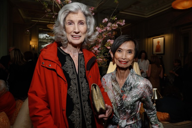 "Nancy Kissinger and Josie Natori attend the launch of Joseph Cicio's new book ""Friends** Bearing Gifts"" at The Lowell Hotel on May 16, 2018 in New York City. (Photo by JP Yim/Getty Images)"