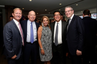 Dan Faber (USTA Foundation Executive Director), gala guest of honor Richard Ader, secretary of the USTA Foundation, Katie Couric, Tom Chen, President, USTA Foundation, Y. D
