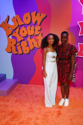 BROOKLYN, NY - SEPTEMBER 05: Logan Browning and Danai Gurira attends the Expand Your Reality Opening Party on September 5, 2018 in Brooklyn City. (Photo by Astrid Stawiarz/Getty Images for Refinery29)