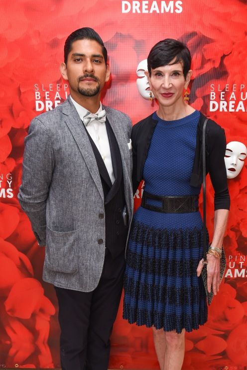 "Felipe Escalante and Amy Fine Collins attend Meet The Artists Creating ""Sleeping Beauty Dreams"" at Guggenheim Museum on September 13, 2018 in New York. (Photo by Presley Ann/PMC)"