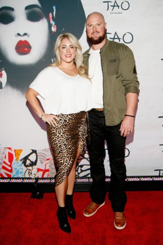 CHICAGO, IL - SEPTEMBER 15: Farrah Stone Johnson and MLB player Jon Lester attend the TAO Chicago Grand Opening Celebration at TAO Chicago on September 15, 2018 in Chicago, Illinois. (Photo by Jeff Schear/Getty Images for TAO Chicago)