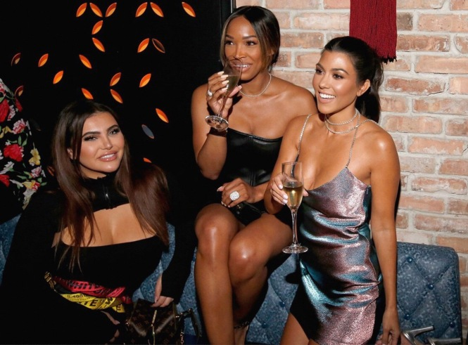 CHICAGO, IL - SEPTEMBER 15: (L-R) Hrush Achemyan, Malika Haqq and Kourtney Kardashian attend the TAO Chicago Grand Opening Celebration at TAO Chicago on September 15, 2018 in Chicago, Illinois. (Photo by Jeff Schear/Getty Images for TAO Chicago)