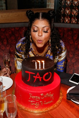 CHICAGO, IL - SEPTEMBER 15: Taraji P. Henson poses with her birthday cake at the TAO Chicago Grand Opening Celebration at TAO Chicago on September 15, 2018 in Chicago, Illinois. (Photo by Jeff Schear/Getty Images for TAO Chicago)