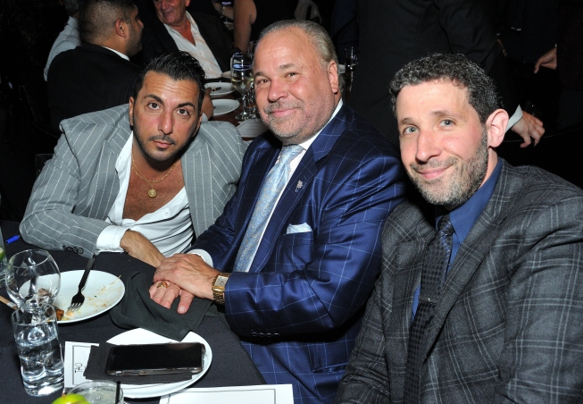 L-R: Actpr Danny Abeckaser, actor Bo Dietl and Eytan Sugarman attend the Together1Heart Foundation Gala at TAO Downtown in New York, NY on October 1, 2018. (Photo by Stephen Smith/Guest of a Guest)