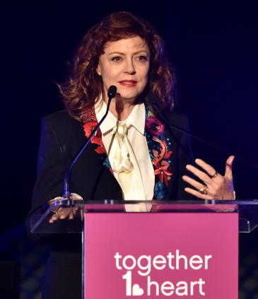Actress Susan Sarandon speaks to the attendees at the Together1Heart Foundation Gala at TAO Downtown in New York, NY on October 1, 2018. (Photo by Stephen Smith/Guest of a Guest)