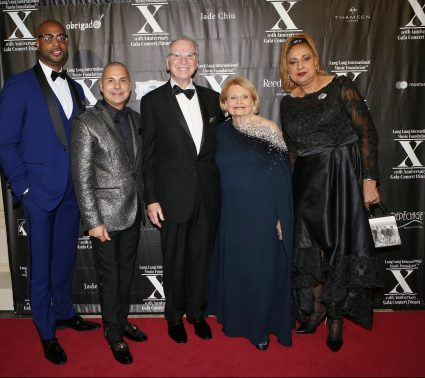 Andre Barwinski-Brown, Lukas Barwinski-Brown, Irwin Jacobs, Joan Jacobs and Sondra Brown attend LLIMF 10th Anniversary Gala Dinner at Cipriani 25 Broadway on October 10, 2018 in New York. (Photo by Krista Kennell/PMC)