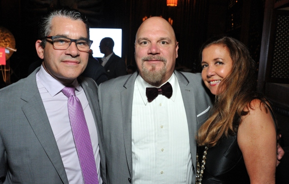 L-R: Daniel Callahan, Together1Heart exec. director Bill Livermore and Olga Porto attend the Together1Heart Foundation Gala at TAO Downtown in New York, NY on October 1, 2018. (Photo by Stephen Smith/Guest of a Guest)