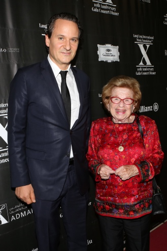 David Hryck and Dr. Ruth Westheimer attend LLIMF 10th Anniversary Gala Dinner at Cipriani 25 Broadway on October 10, 2018 in New York. (Photo by Krista Kennell/PMC)
