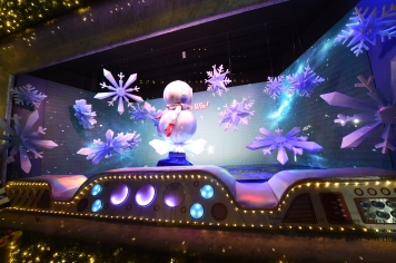 "Macy's Herald Square unveils its legendary Christmas windows celebrating the theme ""Believe In The Wonder Of Giving,"" Thursday, Nov. 15, 2018, in New York. The six enchanted windows share a tale of friendship, family, adventure, and teamwork as Sunny the Snowpal works to save Christmas with the help of her friends. (Diane Bondareff/AP Images for Macy's)"