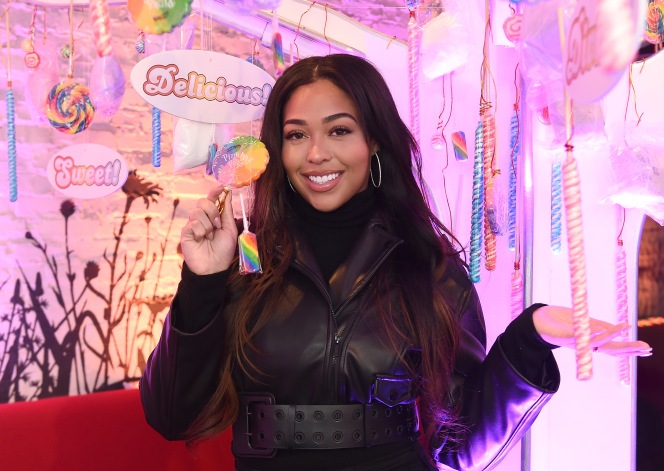 "NEW YORK, NY - FEBRUARY 06: Jordyn Woods attends the Candy Crush Friends Saga ""Sweet n Solo"" Valentine's Day Dining Experience at Dirt Candy on February 6, 2019 in New York City. (Photo by Ilya S. Savenok/Getty Images for King Games)"