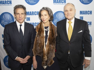 NEW YORK, NEW YORK - MARCH 01: (L-R) Ben Stiller, Alice Tisch and Raymond Kelly attend the UN Women For Peace Association 2019 Awards Luncheon at United Nations Headquarters on March 01, 2019 in New York City. (Photo by noa grayevsky/Getty Images for RSL Mgmt)
