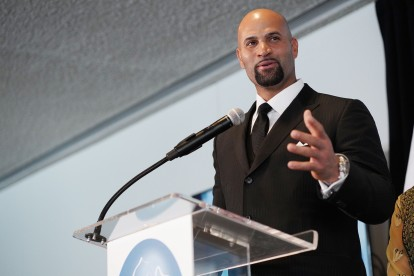 NEW YORK, NEW YORK - MARCH 01: Albert Pujols speaks onstage at the UN Women For Peace Association 2019 Awards Luncheon at United Nations Headquarters on March 01, 2019 in New York City. (Photo by Sean Zanni/Patrick McMullan via Getty Images)
