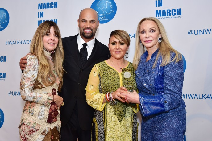 NEW YORK, NEW YORK - MARCH 01: (L-R) Rema DuPont, Albert Pujols, Deidre Pujols and Barbara Winston attend the UN Women For Peace Association 2019 Awards Luncheon at United Nations Headquarters on March 01, 2019 in New York City. (Photo by Sean Zanni/Patrick McMullan via Getty Images)