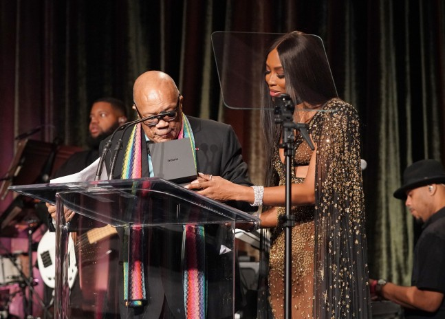 Naomi Campbell presents Quincy Jones with American Icon Award on stage at the The American Icon Awards Gala on May 19, 2019, at Beverly Wilshire Hotel, Beverly Hills, CA.