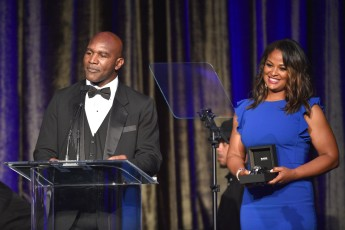 -Beverly Hills, CA - 05/19/2019 American Icon Awards Gala Benefit Ceremony -PICTURED: Evander Holyfield, Laila Ali -PHOTO by: Michael Simon/startraksphoto.com