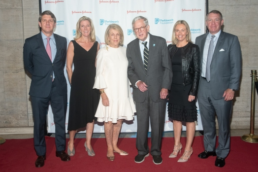 Peter Cutler, Kate Coughlin, Sky Field, Richard Field, Melissa Cutler and Ian Cutler attend Parkinson's Foundation New York Gala at Cipriani 25 Broadway on May 7, 2019 in New York. (Photo by Michael Ostuni/PMC)