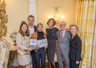 "Ann Van Ness, Luis Garcia Flores, Elaine Olban, Lee Fryd, Guy Robinson, Elizabeth Stribling at French Heritage Society ""The Seine"" Book Party at Private residence in New York on 10/28/2019 (photo by Annie Watt Agency / Sipa USA)"