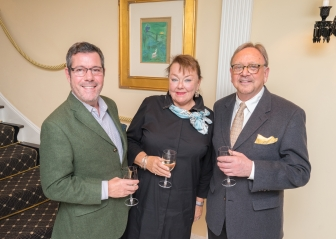 "James Scott, Lisa Witomski, Rick Boldini at French Heritage Society ""The Seine"" Book Party at Private residence in New York on 10/28/2019 (photo by Annie Watt Agency / Sipa USA)"