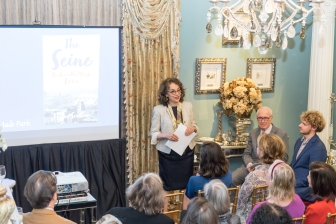 "Elaine Sciolino at French Heritage Society ""The Seine"" Book Party at Private residence in New York on 10/28/2019 (photo by Annie Watt Agency / Sipa USA)"