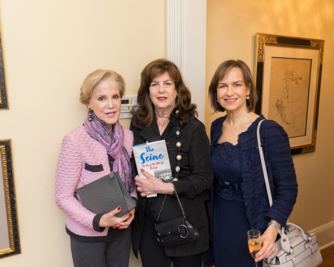 "Gigi Fisdell, Carole Bellidora Westfall, Friederike Moltmann at French Heritage Society ""The Seine"" Book Party at Private residence in New York on 10/28/2019 (photo by Annie Watt Agency / Sipa USA)"