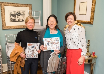 "Elaine Olban, Caroline Bassett, Jennifer Herlein at French Heritage Society ""The Seine"" Book Party at Private residence in New York on 10/28/2019 (photo by Annie Watt Agency / Sipa USA)"