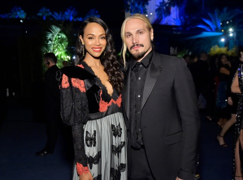 Zoe Saldana, wearing Gucci, and Marco Perego attend the 2019 LACMA Art + Film Gala Presented By Gucci at LACMA on November 02, 2019 in Los Angeles, California. (Photo by Stefanie Keenan/Getty Images for LACMA)